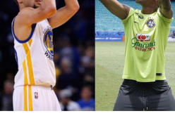 Neymar felicitando a Stephen Curry por su cumple