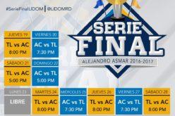 El calendario oficial de la Serie Final Licey Vs. Aguilas