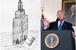 Un dibujo hecho por Donald Trump del Empire State de NY fue vendido por 16 mil dólares