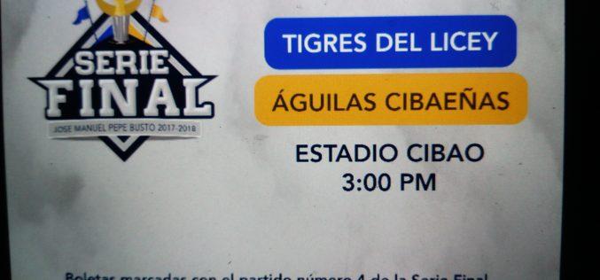 El pospuesto cuarto partido de Serie Final Licey/Águilas es a partir de las 3 de la tarde de hoy domingo