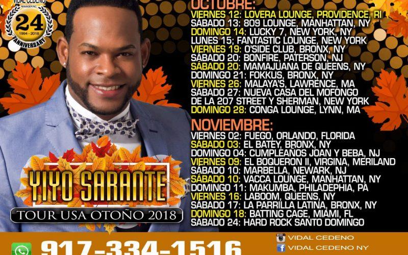 """Yiyo inicia gira por EEUU este viernes; a su regreso pondrá en escena """"Yiyo Sarante en Grande"""" el 24 de noviembre en Hard Rock Live SD"""
