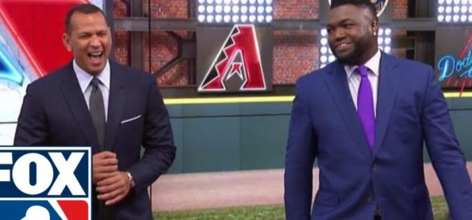 (Video) Alex Rodríguez vistiendo con el uniforme de los Medias Rojas de Boston y bañado en champán por David Ortíz