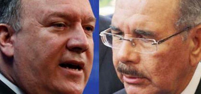 Lo que exactamente informó el Departamento de Estado EEUU sobre conversación del secretario de Estado, Mike Pompeo, con el presidente dominicano Danilo Medina; y lo que exactamente informó la Presidencia RD sobre el tema