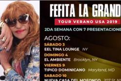 Fefita La Grande,  recogiendo dólares «a borbotones» en la gira que desarrolla por Estados Unidos